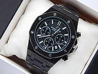 Кварцові наручні годинники Audemars Piguet (репліка) чорного кольору з чорним циферблатом, хронограф, фото 1