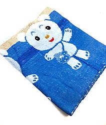 Детская простыня махровая 115х115 Медвежата (4.2) Синий
