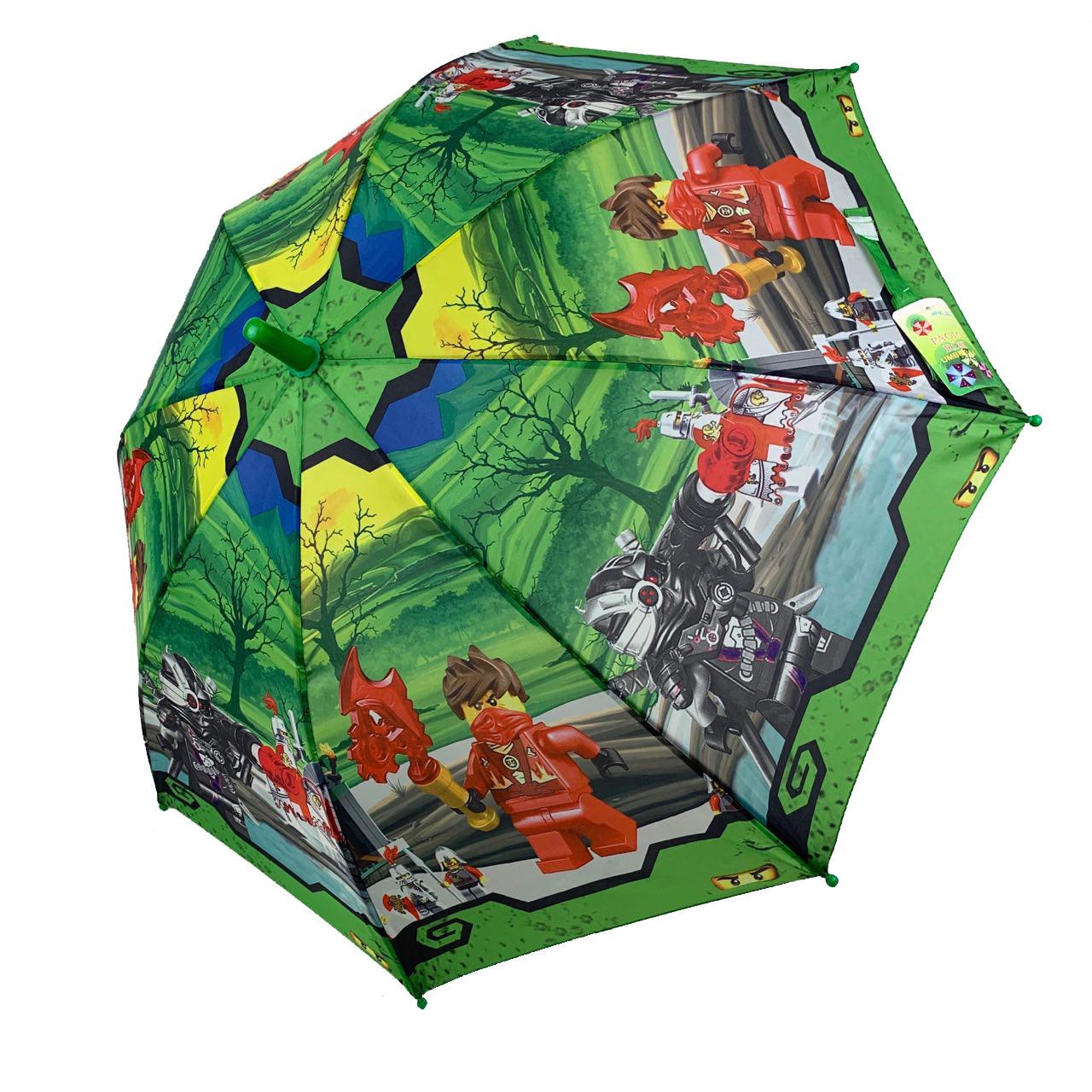 """Детский зонтик для мальчиков Flagman """"Лего Ниндзяго"""" с зеленой ручкой, 017-1"""