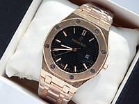 Кварцевые наручные часы Audemars Piguet (реплика) золотого цвета с черным циферблатом, дата, фото 1