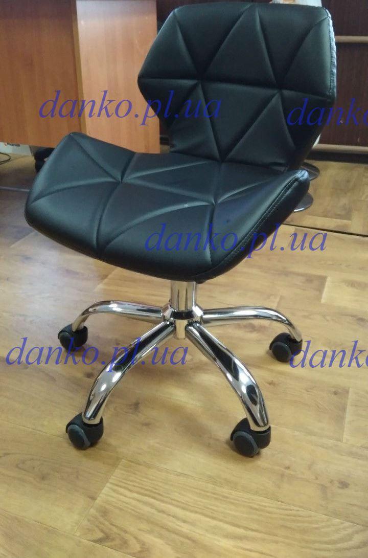 Кресло на колесах Стар нью черное для мастера маникюра от SDM Group, экокожа