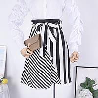 Легкая летняя юбка в полоску на поясе с бантиком