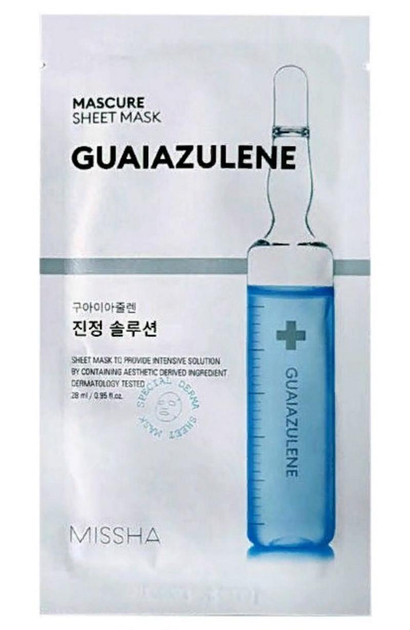 Регенерирующая маска для лица Missha Mascure Calming Solution Sheet Mask Guaiazulene, 28 мл(8809581456617)