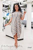 Большое льняное платье Геометрия графит, фото 1