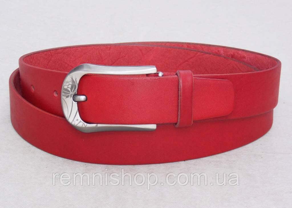 Женский кожаный красный ремень универсальный