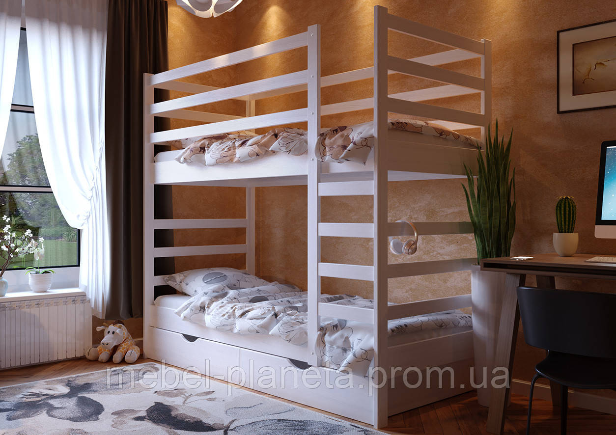 """Двоярусна біла ліжко """"Еля"""" ЧДК"""
