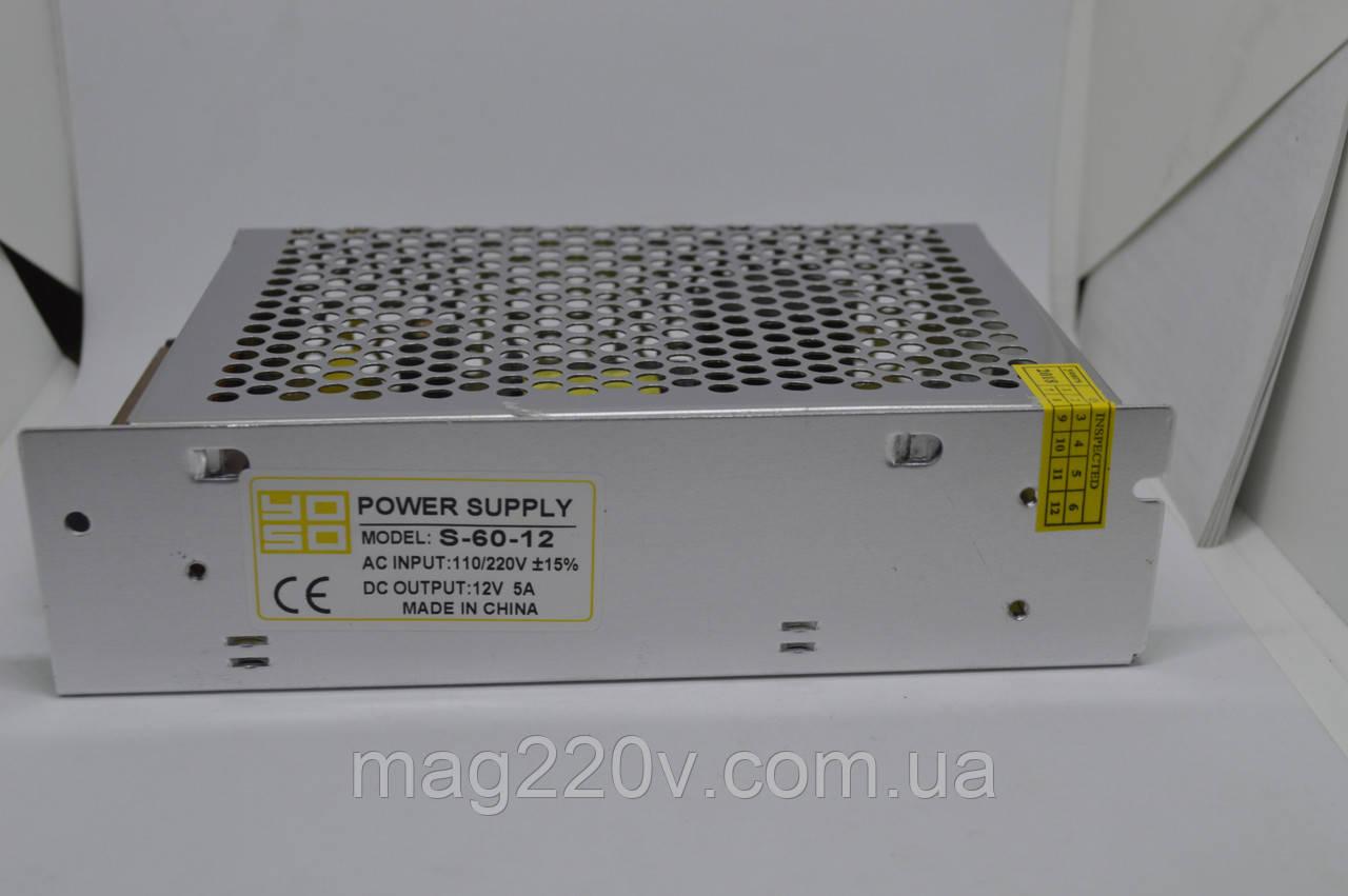 Импульсный блок питания 12В 5А (для светодиодной ленты)