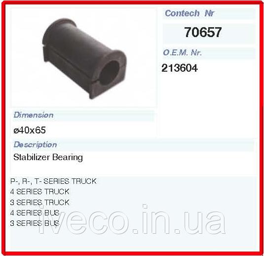 Втулка стабилизатора резиновая Скания 213604 SCANIA 70657CNT
