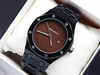 Кварцевые наручные часы Audemars Piguet (реплика) черного цвета с коричневым циферблатом, дата, фото 1