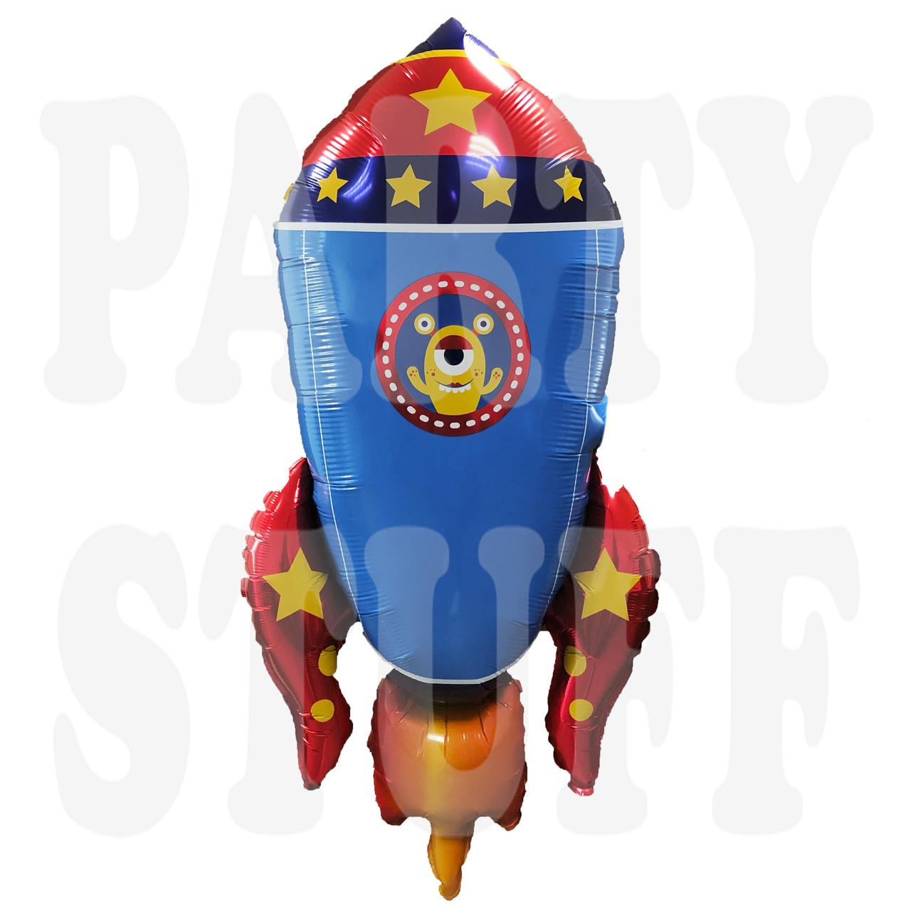 Фольгированный шар Космос Ракета синяя Китай, 88 см (35')