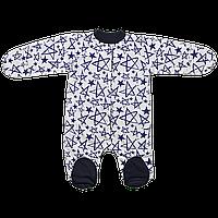 Человечек для новорожденных на кнопках Звезда, Отделка Серая, Размер детской одежды 68