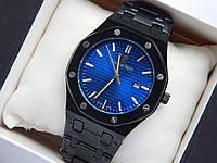 Кварцевые наручные часы Audemars Piguet (реплика) черного цвета, циферблат - синий металлик, дата, фото 1