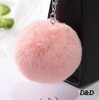 Брелок помпон натуральный мех пудровый диаметр 8 см
