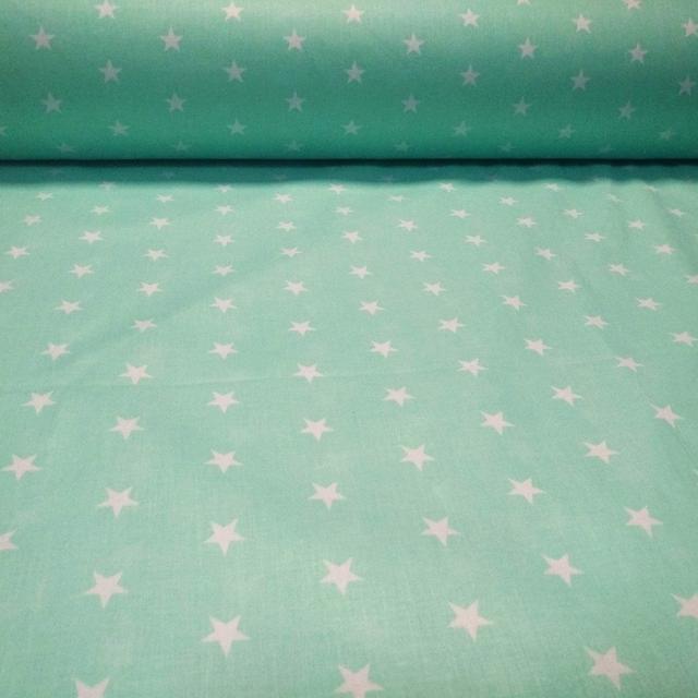 ткань ранфорс звезды на мятном, ранфорс, ранфорс для постельного белья