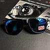Модные солнцезащитные мужские очки в стиле Ray-Ban черные с синими