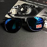 Модные солнцезащитные мужские очки в стиле Ray-Ban черные с синими, фото 1