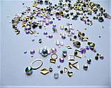 Стразы Swarovski микс разные размеры и формы + формочки разных форм (1400 шт) АВ -радужные., фото 3