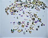 Стразы Swarovski микс разные размеры и формы + формочки разных форм (1400 шт) АВ -радужные., фото 4