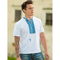 Чоловіча вишита футболка: «АЛАТИР», синя вишивка, біла