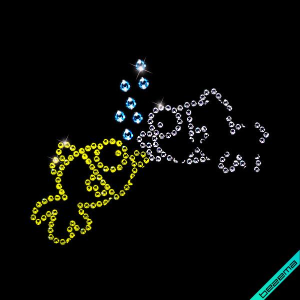 Аплікації на сукні Рибка (Скло,2мм-н.,4мм-сін.,2мм-біл.)