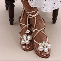 Хит продаж! Невероятные босоножки, сандали на плоской подошве с бусинками и ракушками