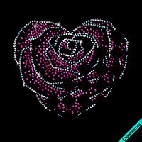 Декор зі страз на півчобітки Роза (Скло,3мм-бенз.,3мм-троянд.,2мм-бенз.)