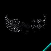 Аппликации на сумки Сердце с крыльями (Стекло,3мм-зол.,3мм-гем.)