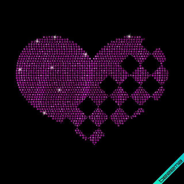 Картинки из страз на головные уборы Сердце (Стекло,3мм-фиолет.)