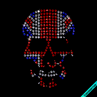 Наклейки на ткань Скелет (Стекло,4мм-бел.,4мм-син.,4мм-красн.)