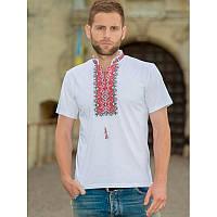 Чоловіча вишита футболка: «АЛАТИР», червона вишивка, біла