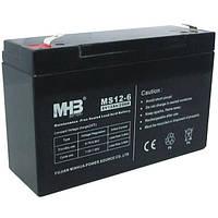 Aккумулятор AGM 12Ач 6В, необслуживаемый герметичный, модель MS12-6, MHB battery