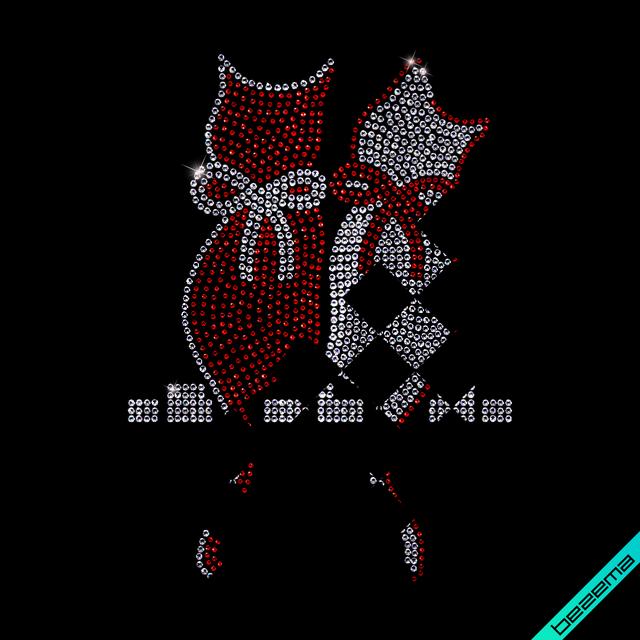 Декор на пояса Кошки (Стекло,3мм-бел.,2мм-красн.)