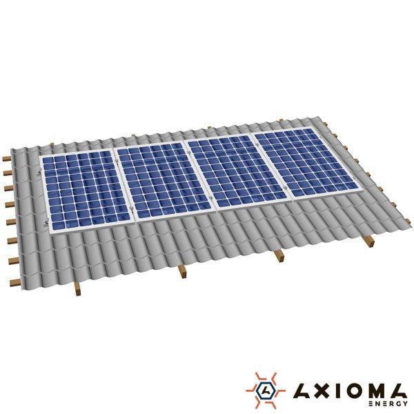 Система креплений на 5 панелей параллельно крыше, алюминий 6005 Т6 и нержавеющая сталь А2, AXIOMA energy