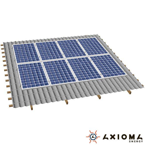 Система креплений на 8 панелей параллельно крыше, алюминий 6005 Т6 и нержавеющая сталь А2, AXIOMA energy
