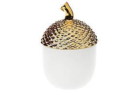 Банка керамическая Желудь, 800мл, цвет - белый с золотом (727-148)