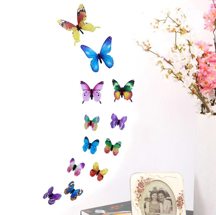Наклейки на стену Бабочки Радуга 3D 12 шт. разноцветные