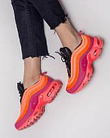 Кроссовки женские Nike Air Max Plus 97 яркие удобные качественные на шнуровке (розовые), ТОП-реплика