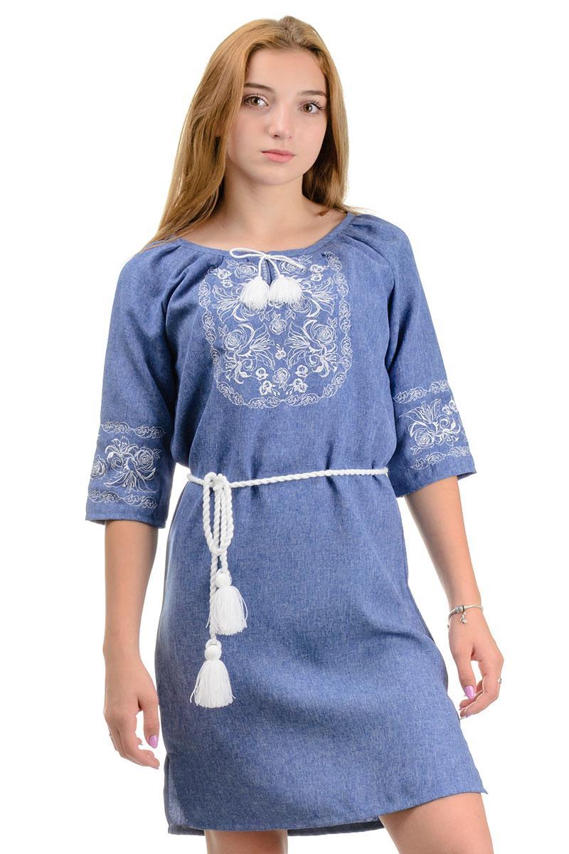 Молодежное платье с вышивкой Лилия (джинс)