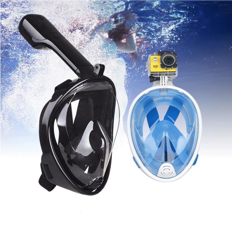 Полнолицевая панорамная маска для плавания FREE BREATH (L/XL) M2068G с креплением для камеры