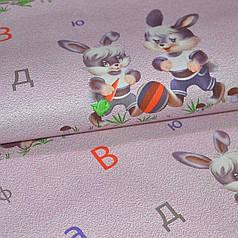 Обои для стен шпалери в дитячу рожеві зайчата в детскую 0,53*10м