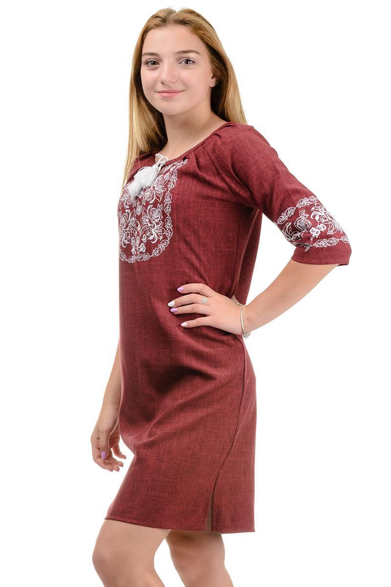 Платье с вышивкой Лилия (марсала)