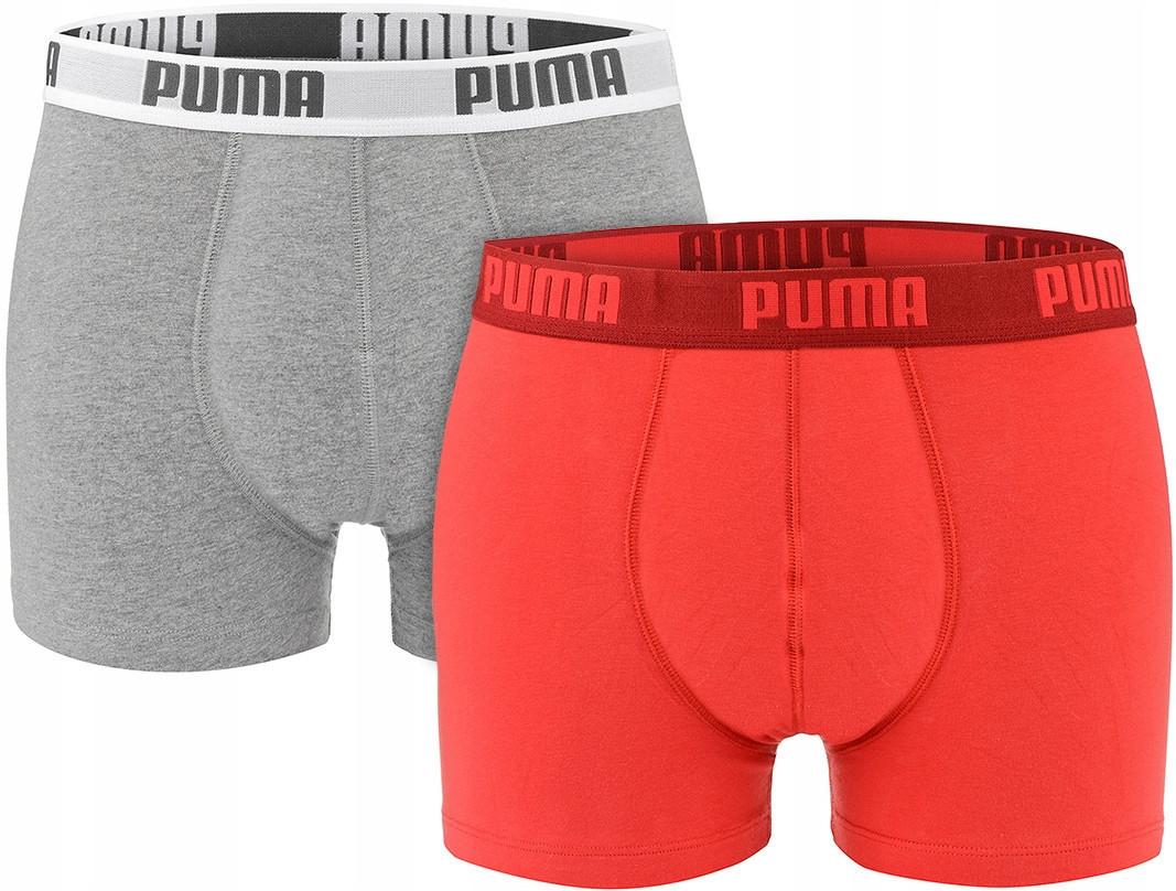 Мужские трусы-боксеры Puma Basic (ОРИГИНАЛ) Red/Grey (Размер L) 2 шт.