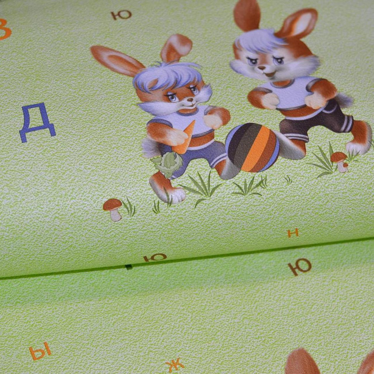 Обои для стен дитячі детские шпалери в дитячу зелені зайчата в детскую 0,53*10м, ограниченное количество