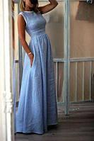 Длинное нарядное платье из льна. Цвет на выбор.   Полномерные размеры  40-72+