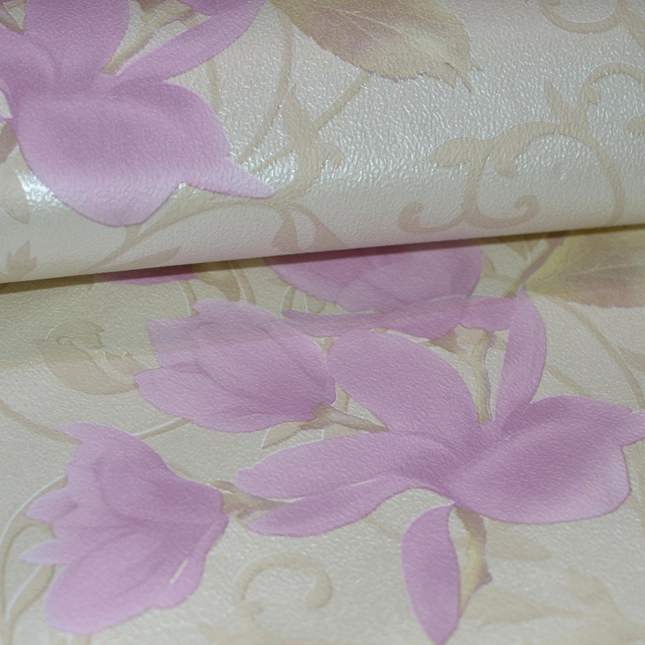 Обои для стен шпалери бежеві квіти рожеві паперові розовые цветы бумажные 0,53х10м.