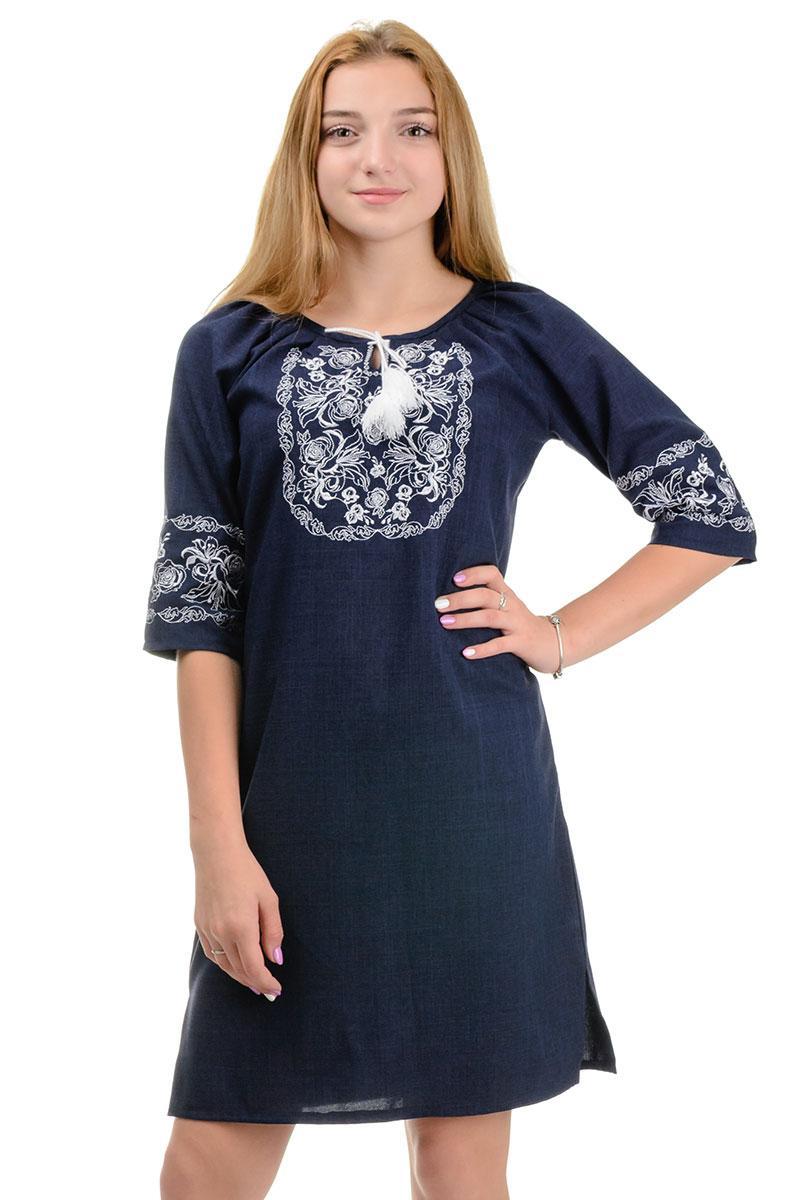 Современное платье-вышиванка Лилия лен-габардин (темно-синий)
