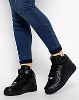Кроссовки черные Nike Air Force Black  Найк Аир Форс