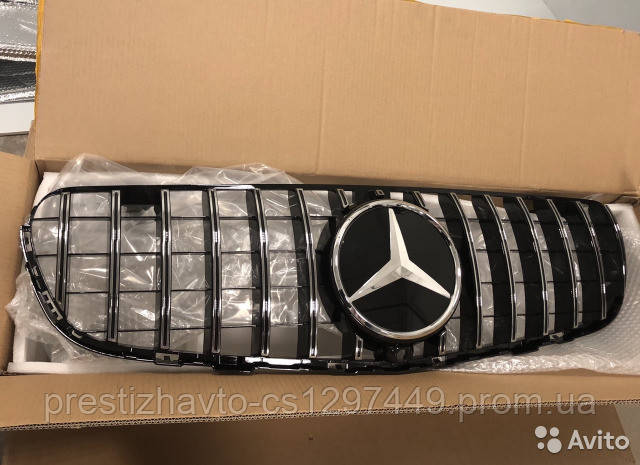 Решетка радиатора Mercedes GLC X253 стиль Panamericana GT (Black/Chrome)
