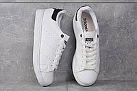Кроссовки белые с черным задником Adidas Stan Smith Black Адідас Стен Смит, фото 1
