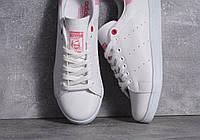 Кроссовки белые с розовым задником Adidas Stan Smith pink and white, фото 1